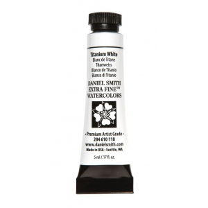 Daniel Smith Extra Fine™ Watercolor 5ml Titanium White: White/Ivory, Tube, 5 ml, Watercolor, (model 284610118), price per tube
