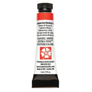 Daniel Smith Extra Fine™ Watercolor 5ml Cadmium Red Medium Hue: Red/Pink, Tube, 5 ml, Watercolor, (model 284610222), price per tube