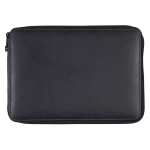Global Art Materials™ Leather Pencil Case Black: Black/Gray, Leather, (model 414120), price per each