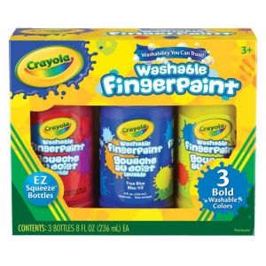 Crayola® Washable Fingerpaint Primary Set: Bottle, 3-Pack, 8 oz, Washable, (model 55-1310), price per set