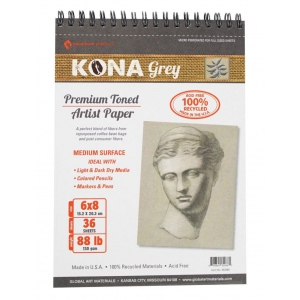 "Hand Book Journal Co.™ Kona Grey Artist Paper 6"" x 8"": Wire Bound, Black/Gray, 36 Sheets, 6"" x 8"", 88 lb, (model 662068), price per 36 Sheets pad"