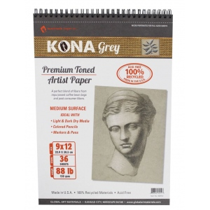 "Hand Book Journal Co.™ Kona Grey Artist Paper 9"" x 12"": Wire Bound, Black/Gray, 36 Sheets, 9"" x 12"", 88 lb, (model 662912), price per 36 Sheets pad"