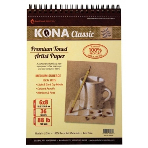 "Hand Book Journal Co.™ Kona Tan Artist Paper 6"" x 8"": Wire Bound, Brown, 36 Sheets, 6"" x 8"", 88 lb, (model 664068), price per 36 Sheets pad"