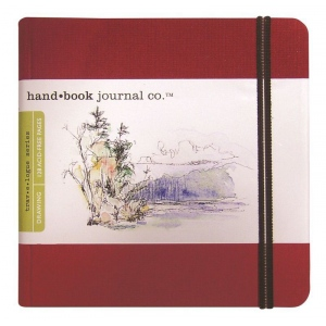 "Hand Book Journal Co.™ Travelogue Series Artist Journal 5.5"" x 5.5"" The Square Vermillion Red: Red/Pink, 128 Sheets, 5 1/2"" x 5 1/2"", Heavyweight, (model 721334), price per each"