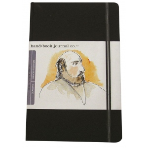 "Hand Book Journal Co.™ Travelogue Series Artist Journal 8.25"" x 5.5"" Large Portrait Ivory Black: Black/Gray, 128 Sheets, 5 1/2"" x 8 1/4"", Heavyweight"
