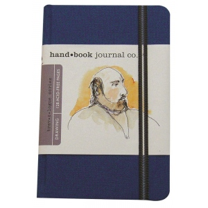 "Hand Book Journal Co.™ Travelogue Series Artist Journal 8.25"" x 5.5"" Large Portrait Ultramarine Blue: Black/Gray, 128 Sheets, 5 1/2"" x 8 1/4"", Heavyweight, (model 721412), price per each"