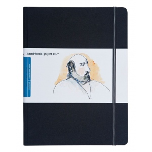"Hand Book Journal Co.™ Travelogue Series Artist Journal 10.5"" x 8.25"" Grand Portrait Ivory Black: Black/Gray, 128 Sheets, 8 1/4"" x 10 1/2"", Heavyweight, (model 721511), price per each"