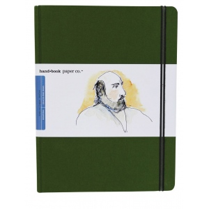 "Hand Book Journal Co.™ Travelogue Series Artist Journal 10.5"" x 8.25"" Grand Portrait Cadmium Green: Green, 128 Sheets, 8 1/4"" x 10 1/2"", Heavyweight, (model 721513), price per each"