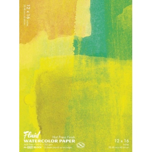 "Hand Book Journal Co.™ Fluid™ Easy-Block™ Hot Press Watercolor Paper 12"" x 16"": 15 Sheets, 12"" x 16"", Hot Press, 140 lb, (model 851216), price per 15 Sheets pad"