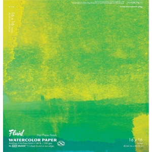 "Hand Book Journal Co.™ Fluid™ Easy-Block™  Hot Press Watercolor Paper 16"" x 16"": 15 Sheets, 16"" x 16"", Hot Press, 140 lb, (model 851616), price per 15 Sheets pad"