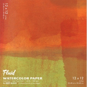 "Hand Book Journal Co.™ Fluid™ Easy-Block™ Cold Press Watercolor Paper 12"" x 12"": 15 Sheets, 12"" x 12"", Cold Press, 140 lb, (model 881212), price per 15 Sheets pad"