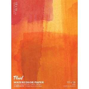 "Hand Book Journal Co.™ Fluid™ Easy-Block™ Cold Press Watercolor Paper 12"" x 16"": 15 Sheets, 12"" x 16"", Cold Press, 140 lb"