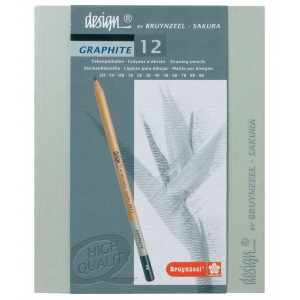 Bruynzeel® Design® 12 Pencil Graphite Set; Color: Black/Gray; Lead Size: 3.8mm; Type: Drawing; (model 8815H12), price per set