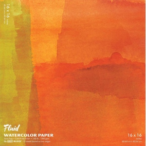 "Hand Book Journal Co.™ Fluid™ Easy-Block™ Cold Press Watercolor Paper 16"" x 16"": 15 Sheets, 16"" x 16"", Cold Press, 140 lb, (model 881616), price per 15 Sheets pad"