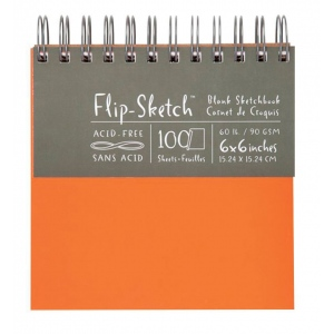 "Hand Book Journal Co.™ Flip-Sketch™ Wire-Bound Sketchbook 6"" x 6"" Square Mandarin: Wire Bound, Orange, 100 Sheets, 6"" x 6"", 60 lb, (model 960020), price per 100 Sheets pad"