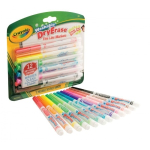 Crayola® Washable Dry Erase Fine Line Markers 12-Set: Multi, Fine Nib, (model 98-5912), price per each