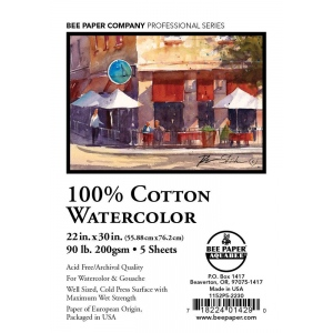 "Bee Paper® 100% Cotton Watercolor Sheets 22"" x 30"" 90lb: Sheet, 5 Sheets, 22"" x 30"", Watercolor, 90 lb, (model B1152P5-2230), price per 5 Sheets"