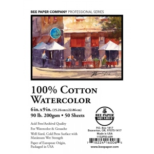 "Bee Paper® 100% Cotton Watercolor Sheets 6"" x 9"" 90lb 50pk: Sheet, 50 Sheets, 6"" x 9"", Watercolor, 90 lb, (model B1152P50-609), price per 50 Sheets"