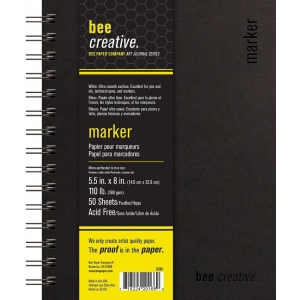 "Bee Paper® Bee Creative Marker Book 5.5"" x 8"": Wire Bound, White/Ivory, Pad, 50 Sheets, 5.5"" x 8"", Marker, 108 lb, (model B20001), price per each"