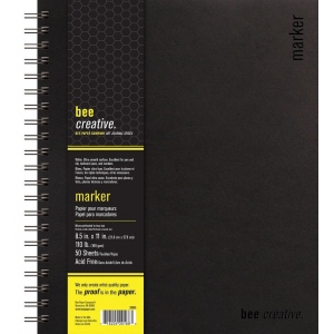 "Bee Paper® Bee Creative Marker Book 8.5"" x 11"": Wire Bound, White/Ivory, Pad, 50 Sheets, 8.5"" x 11"", Marker, 108 lb, (model B20005), price per each"