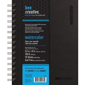 "Bee Paper® Bee Creative Watercolor Book 5.5"" x 8"": Wire Bound, White/Ivory, Pad, 35 Sheets, 5.5"" x 8"", Watercolor, 160 lb, (model B20061), price per each"