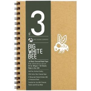 Bee Paper® Big White Bee Jet Black Charcoal/Pastel Paper Pad