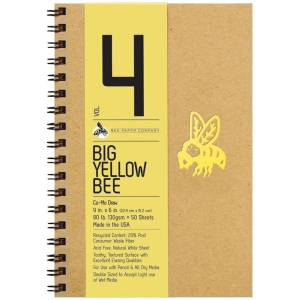 "Bee Paper® Big Yellow Bee Co-Mo Draw Paper 9"" x 6"": Wire Bound, White/Ivory, Pad, 50 Sheets, 9"" x 6"", Drawing, 80 lb, (model B205CB50-609), price per 50 Sheets pad"