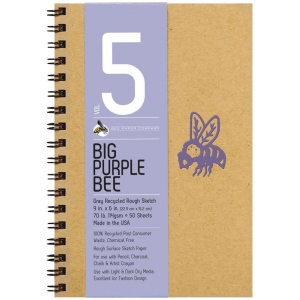 Bee Paper® Big Purple Bee Gray Recycled Rough Sketch Paper Pad