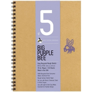 "Bee Paper® Big Purple Bee Gray Recycled Rough Sketch Paper 12"" x 9"": Wire Bound, Black/Gray, Pad, 50 Sheets, 9"" x 12"", Drawing, 70 lb, (model B206CB50-912), price per 50 Sheets pad"