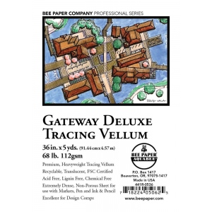 "Bee Paper® Gateway Deluxe Tracing Vellum Roll 36"" x 5yd: Roll, 36"" x 5 yd, Tracing, 68 lb, (model B441R-0536), price per roll"