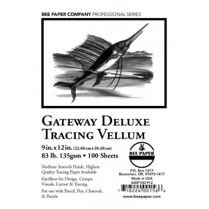 "Bee Paper Gateway Deluxe Tracing Vellum Sheets 9"" x 12"" 83 lb"