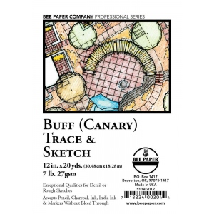 "Bee Paper® Buff Canary Trace & Sketch Roll 12"" x 20yd: Yellow, Roll, 12"" x 20 yd, Tracing, (model B510R-2012), price per roll"