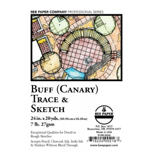 "Bee Paper® Buff Canary Trace & Sketch Roll 24"" x 20yd: Yellow, Roll, 24"" x 20 yd, Tracing, (model B510R-2024), price per roll"