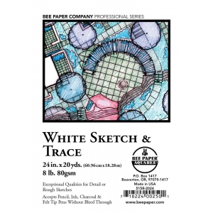 "Bee Paper® White Sketch & Trace Roll 24"" x 20yd: White/Ivory, Roll, 24"" x 20 yd, Tracing, (model B515R-2024), price per roll"