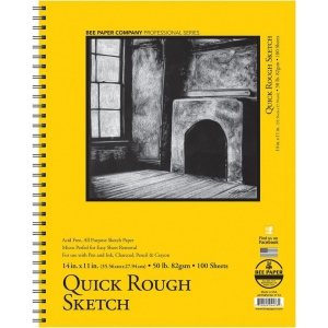"Bee Paper® Quick Rough Sketch Pad 14"" x 11"": Wire Bound, Pad, 100 Sheets, 11"" x 14"", Sketching, 50 lb, (model B6075RS100-1114), price per 100 Sheets pad"