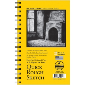 "Bee Paper® Quick Rough Sketch Pad 8"" x 5"": Wire Bound, Pad, 100 Sheets, 5"" x 8"", Sketching, 50 lb, (model B6075RS100-58), price per 100 Sheets pad"