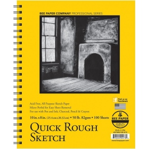 "Bee Paper® Quick Rough Sketch Pad 10"" x 8"": Wire Bound, Pad, 100 Sheets, 8"" x 10"", Sketching, 50 lb, (model B6075RS100-810), price per 100 Sheets pad"