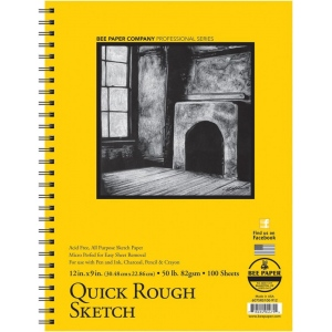 "Bee Paper® Quick Rough Sketch Pad 12"" x 9"": Wire Bound, Pad, 100 Sheets, 9"" x 12"", Sketching, 50 lb, (model B6075RS100-912), price per 100 Sheets pad"