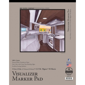 "Bee Paper® Visualizer Marker Pad 11"" x 14"": Tape Bound, White/Ivory, Pad, 50 Sheets, 11"" x 14"", Marker, 14 lb, (model B637T50-1114), price per 50 Sheets pad"