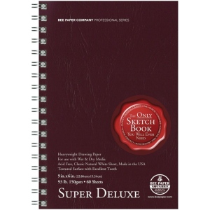 "Bee Paper® Super Deluxe Paper Pad 9"" x 6"": Wire Bound, White/Ivory, Pad, 60 Sheets, 6"" x 9"", Drawing, 93 lb, (model B808S60-609), price per 60 Sheets pad"