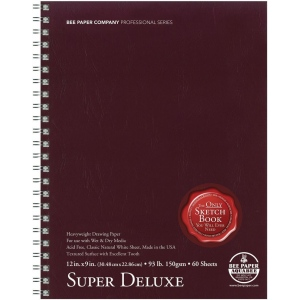 "Bee Paper® Super Deluxe Paper Pad 12"" x 9"": Wire Bound, White/Ivory, Pad, 60 Sheets, 9"" x 12"", Drawing, 93 lb, (model B808S60-912), price per 60 Sheets pad"