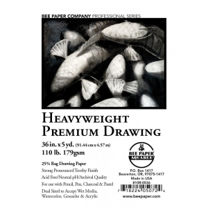 "Bee Paper® Heavyweight Premium Drawing Roll 36"" x 5yd: Roll, 36"" x 5 yd, Drawing, 110 lb, (model B810R-0536), price per roll"