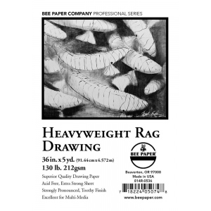"Bee Paper® Heavyweight Rag Drawing Roll 36"" x 5yd: Roll, 36"" x 5 yd, Drawing, 130 lb, (model B814R-0536), price per roll"