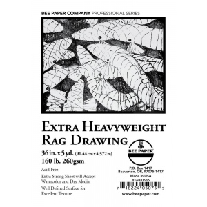 "Bee Paper® Extra Heavyweight Rag Drawing Roll 36"" x 5yd: Roll, 36"" x 5 yd, Drawing, 160 lb, (model B816R-0536), price per roll"