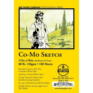 "Bee Paper® Co-Mo Sketch Sheets 12"" x 18"": White/Ivory, Sheet, 100 Sheets, 12"" x 18"", Drawing, 80 lb, (model B820P100-1218), price per 100 Sheets"