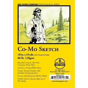 "Bee Paper® Co-Mo Sketch Roll 18"" x 10yd: White/Ivory, Roll, 18"" x 10 yd, Drawing, 80 lb, (model B820R-1018), price per roll"