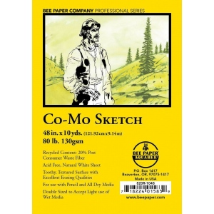 "Bee Paper® Co-Mo Sketch Roll 48"" x 10yd: White/Ivory, Roll, 48"" x 10 yd, Drawing, 80 lb, (model B820R-1048), price per roll"