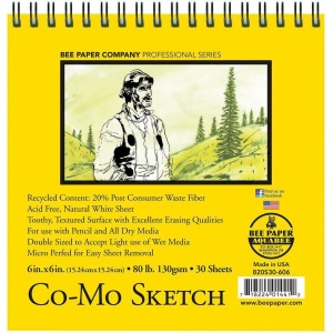"Bee Paper® Co-Mo Sketch Pad 6"" x 6"": Wire Bound, White/Ivory, Pad, 30 Sheets, 6"" x 6"", Drawing, 80 lb, (model B820S30-606), price per 30 Sheets pad"