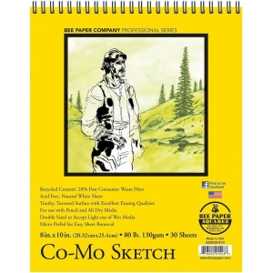 "Bee Paper® Co-Mo Sketch Pad 8"" x 10"": Wire Bound, White/Ivory, Pad, 30 Sheets, 8"" x 10"", Drawing, 80 lb, (model B820S30-810), price per 30 Sheets pad"