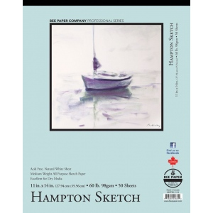 "Bee Paper® Hampton Sketch Pad 11"" x 14"": Tape Bound, White/Ivory, Pad, 50 Sheets, 11"" x 14"", Sketching, 60 lb, (model B825T50-1114), price per 50 Sheets pad"
